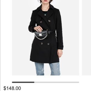 Express Jackets & Coats - Classic Double Breasted Black Trench Coat w Belt
